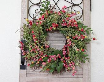 Mini Farmhouse Wreath - Window Wreath -  Floral Wreath - Mini Spring Front Door Decor - Pink Berry Wreath - Floral Home Decor - Shabby Chic