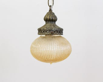 Vintage Swag Lamp / Pendant Lamp, Peach Carnival Glass Globe, Lighting