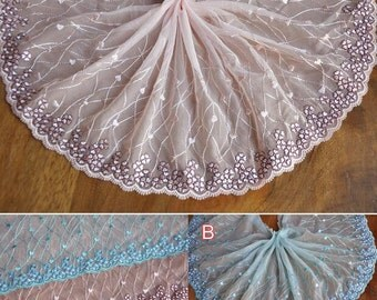 5 meter 21cm 8.26 inches wide pink/turquois tulle gauze mesh fabric embroidered tapes lace trim ribbon THFVFR30125 free ship