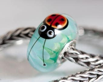 Small Core Ladybug Chrysanthemum Artisan Bead SRA Lampwork Beads BHB