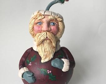 Folk Art Santa Claus Gourd Holiday Decor Sculpted Santa Christmas Ornament Primitive Santa Gourds OFGCIJ
