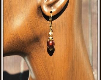 Freshwater Pearl Earrings, Bronze Pearl Earrings, Copper Bronze Pearl Earrings, Brown Pearl Earrings, Brown and Gold Pearl Earrings