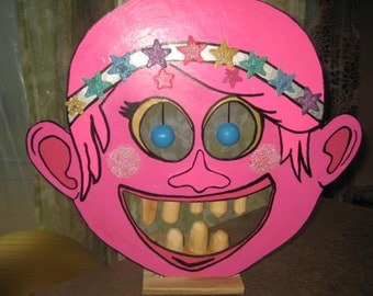 Poppy Troll Pixie Elf Girl Face Shooting Gallery Target Game for the Nerf Gun - Christmas Party game Winters Kids