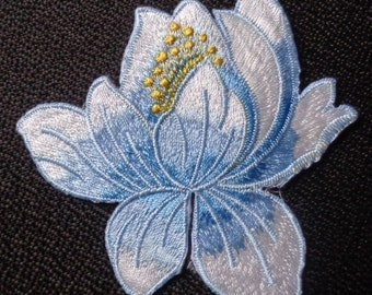 Lotus Flower Embroidery Iron On Applique blue