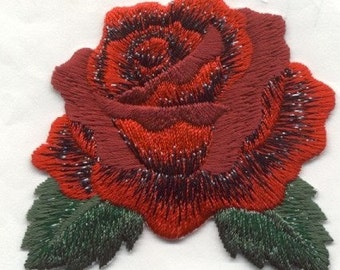 large ROSE RED IRON on patch applique