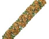 1950s Thick Green Rhinestone Bracelet with Gold Filigree