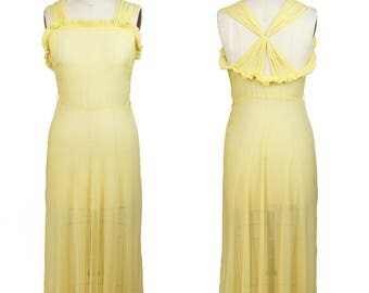 1930s Dress // Yellow Silk Sheer Full Length Gown
