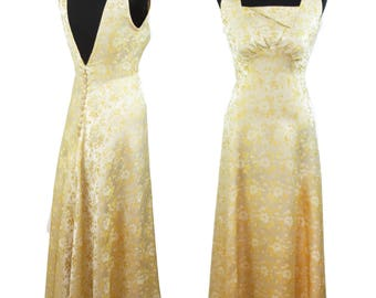 1930s Dress // Creamy Yellow Floral Brocade Art Deco Evening Gown by Josephy of Beverly Hills