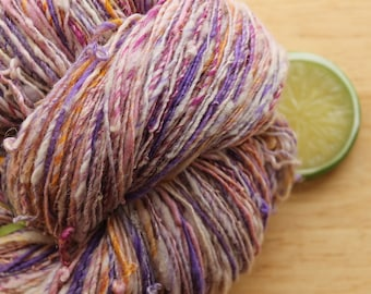 Iced Pansy - Handspun Superwash Wool Yarn Silk Sparkle Angora Skein