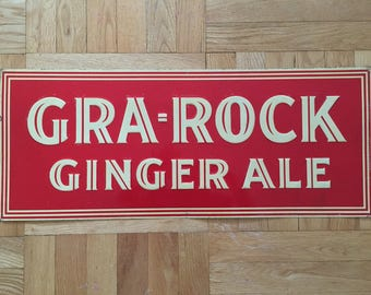 1920's-1930's Gra-Rock Ginger Ale Tin Sign Soda Pop Collectable Advertising Sign Very Rare Connecticut History