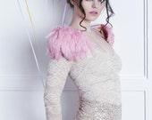 Black Friday Pink feather shoulder epaulette, feather wings, feather shoulder pieces