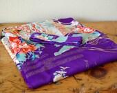 Vintage NOS Ichiban Traditional Japanese Kimono Vintage Purple  Belted Wrap Ichiban Floral Kimono Asian Robe from The Eclectic Interior