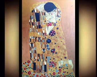 The Kiss - Gustav Klimt original Acrylic painting hand painted, reproduction, art nouveau, lovers couple embrace art, living room, large wa