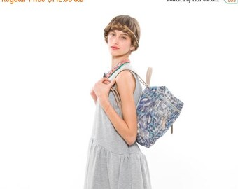 SALE - 50% OFF!!! Blue Nylon Fabric Bag with Beige Leather Straps, Lightweight & Practical School Backpack or Briefcase for Work