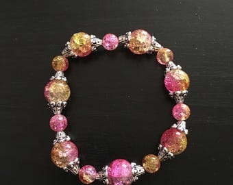 Pink and Yellow Stretch Bracelet with Silver Accents