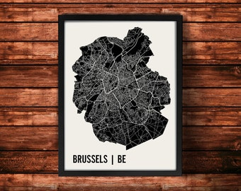 Brussels Map Artwork   Map of Brussels   Brussels Belgium Map   Brussels City Map   Brussels Poster   Brussels Wall Art Print