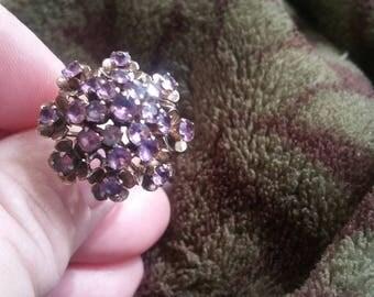 Vintage 14kt Gold  Amethyst Large Princess Ring size 7