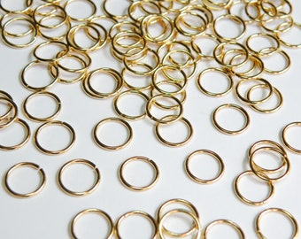 50 Jump Rings round open shiny gold plated brass 8mm 20 gauge A5099FN