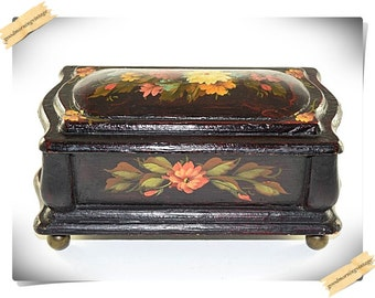 Floral Wood Trinket Jewelry Box