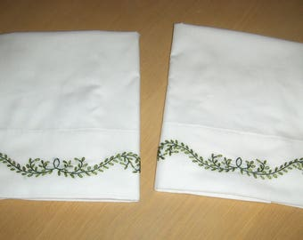 King  Size, Elegant  Hand Embroidered Pillowcases