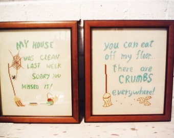 Framed stitchery clean  house humor kitchen laundry room pair two brooms crumbs housekeeping vintage handmade