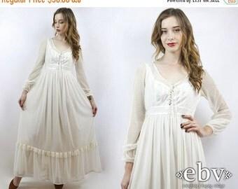 Vintage 70s White Maxi Dress XS S Hippie Dress Hippy Dress Hippie Wedding Dress Hippy Wedding Dress Boho Wedding Dress