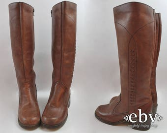 Brown Leather Boots Leather Knee Boots Woven Leather Boots Brown Boots Block Heel Boots Stacked Heel Boots Riding Boots size 7 1970s Boots