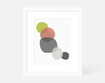 Minimalist Abstract Wall Art / Mid Century Modern Art Large / Vertical Art Print / Framed and Matted / 18x24 16x20 11x14 8x10 5x7