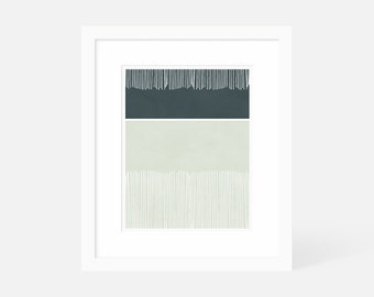 Large Minimalist Wall Art / Modern Graphic Art Prints / Vertical Artwork Blue / Framed and Matted / 5x7 8x10 11x14 16x20 18x24