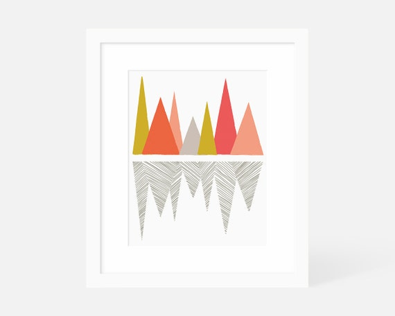 Modern Art Vertical / Minimalist Geometric Art Print / Large Gallery Art / Mountain / 5x7 8x10 11x14 16x20 18x24 / Matted and Framed