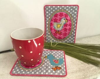 BIRDY MugRugs for a cheerful cup, 4 cute BIRD MugRug ITH, Machine Embroidery Design, Step-by-step tutorial - Easy to make, very Versatile