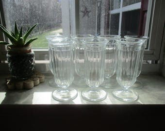 Set of Seven Vintage Clear Glass Parfait/Ice Cream Sundae Glasses