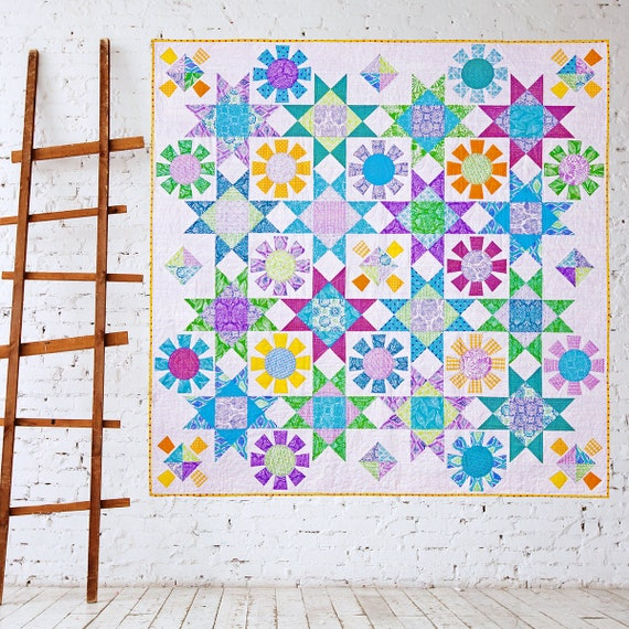 SPRING FLING | pdf Quilt Pattern | Patterns | Quilts | Modern Quilts | Flower Quilts | Applique Quilts | Happy Quilts | Blue & White Quilts
