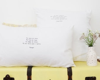 Quote Cotton linen pillow covers screen printed - wedding gift - engagement gift - anniversary gift