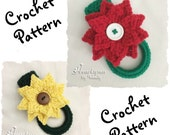 CROCHET PATTERN to make a Christmas Poinsettia or Sunflower Kitchen or Bath Towel Ring. Instant Download, PDF Format.  Towel topper pattern