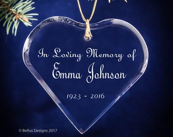 In Loving Memory of Engraved Heart Personalized Rememberance Crystal Ornament