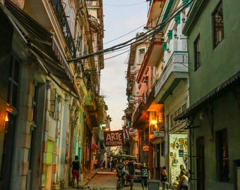 """Cuba Photography, """"Streets of Havana at Night"""", Travel Photography, Cityscape, Metallic Finish Print, Customizable Sizes Upon Request"""
