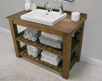 Rustic Custom Vanity Bathroom, Powder Room Hudson