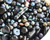 Black glass beads mix, various shapes czech beads mix, 20gr per bag, round, heart, spacers - 0212