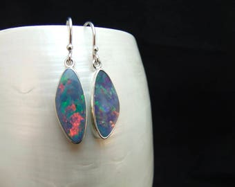 Australian Opal Sterling Silver Earrings