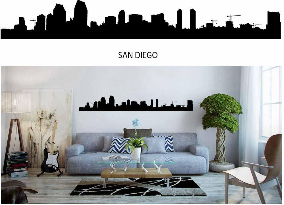 San Diego City Skyline Decal Skyline Silhouette Vinyl Wall - Wall decals city
