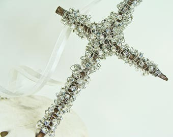 Clear with Silver Lined Beads are Wire Crocheted & Wire Wrapped on this  Rustic Nail Cross Wall Art or Suncatcher