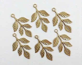Raw Brass Leaf, Laurel Leaves, Leaf Stamping, Earring Drop, Embellishment 23mm x 37mm - 6 pcs. (r175)