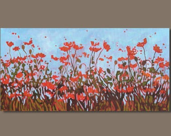 FREE SHIP abstract painting, poppy painting, oblong, flower painting, botanical poppies floral painting, panoramic art on canvas, red orange
