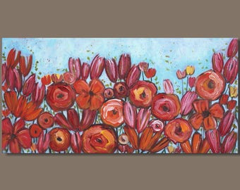 abstract painting, flowers, bold color, pink and orange, turquoise blue panorama painting, floral botanical garden, modern pop art on canvas