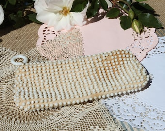 white beaded coin purse