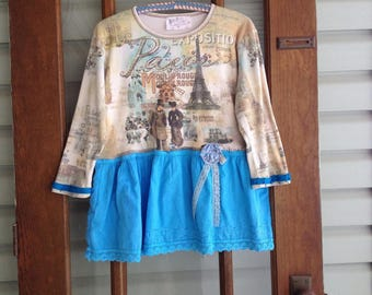 Rustic Paris blouse M-L romantic boho blouse, upcycled top