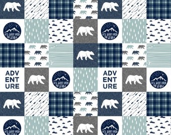 Woodland Moose Contour Changing Pad Cover - Blue Gray Check, Bears, Adventure, Woodland