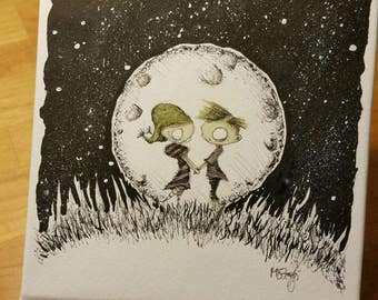 Moonlight, first love, first crush, ink and watercolor original painting, zombie couple in love, zombies