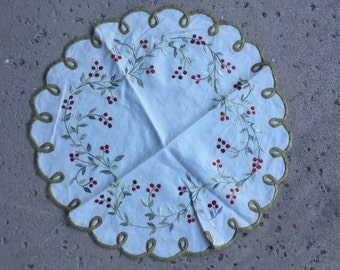 Vintage Circular Embroidered Table Topper Cloth